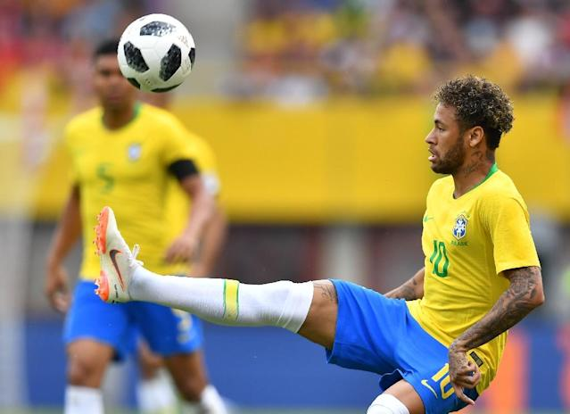 Neymar in action for Brazil in Sunday's friendly against Austria in Vienna (AFP Photo/JOE KLAMAR)