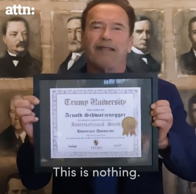 Arnold Schwarzenegger took a dig at Donald Trump and his failed Trump University during his virtual commencement address. (Screenshot: Arnold Schwarzenegger via ATTN/Instagram)