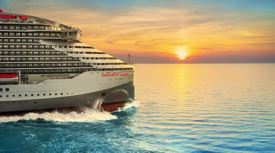 Rendering of Resilient Lady, the third ship in Virgin Voyages' four ship fleet.