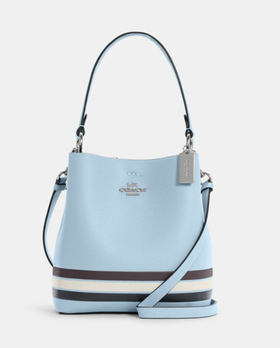 Small Town Bucket Bag in Colorblock with Stripe in Waterfall Midnight Multi (Photo via Coach Outlet)
