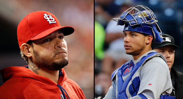 "Cardinals catcher <a class=""link rapid-noclick-resp"" href=""/mlb/players/7345/"" data-ylk=""slk:Yadier Molina"">Yadier Molina</a> responded to Cubs catcher <a class=""link rapid-noclick-resp"" href=""/mlb/players/10166/"" data-ylk=""slk:Willson Contreras"">Willson Contreras</a>' proclamation that he wants to be the best catcher in MLB. (AP)"