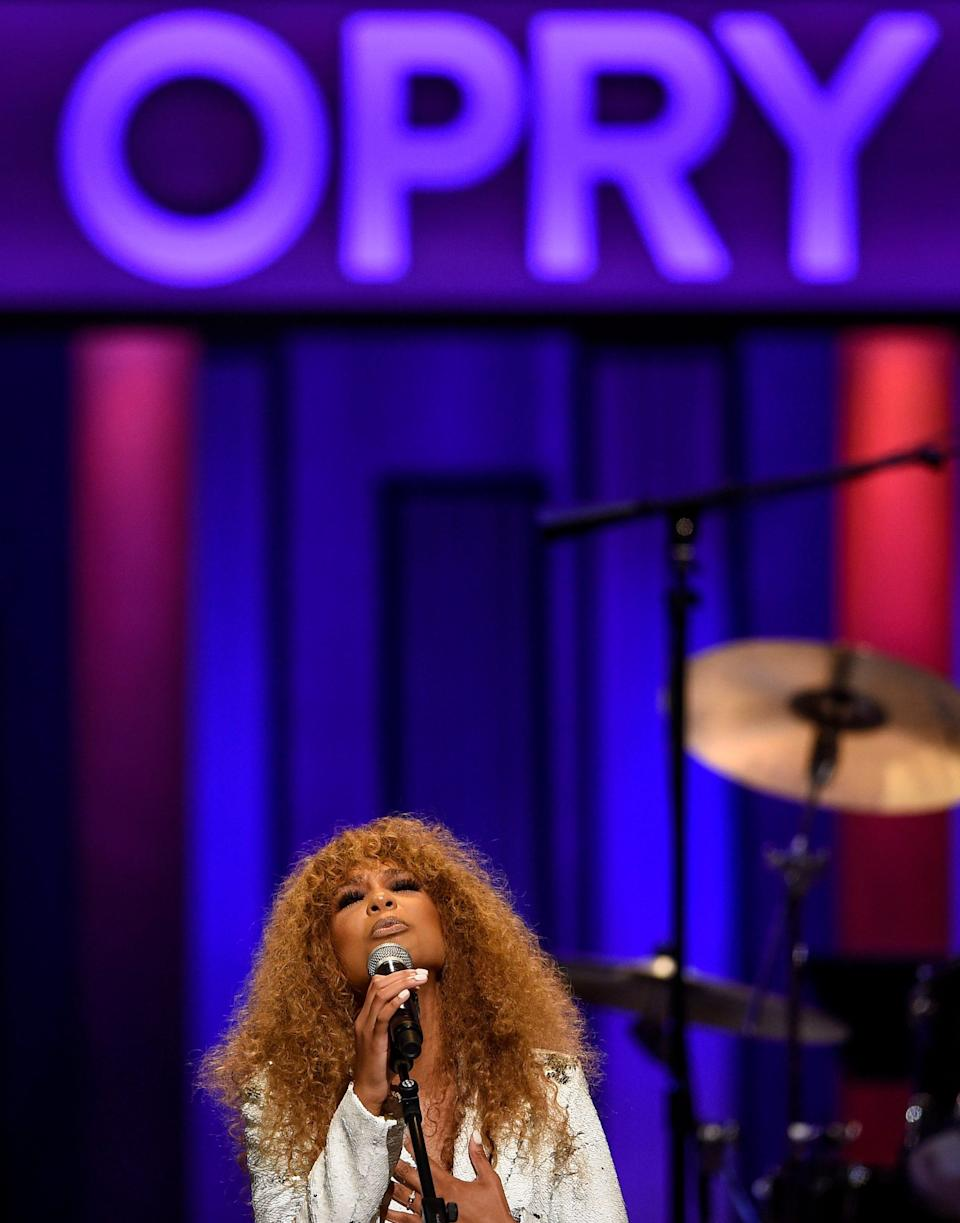 Tiera performs in her first appearance at the Grand Ole Opry in Nashville, Tenn., on Aug. 17.