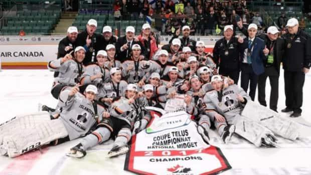 Colten Ellis, front row, far right, was one of the key players for the Cape Breton West Islanders when they won the 2017 Telus Cup championship in British Columbia.