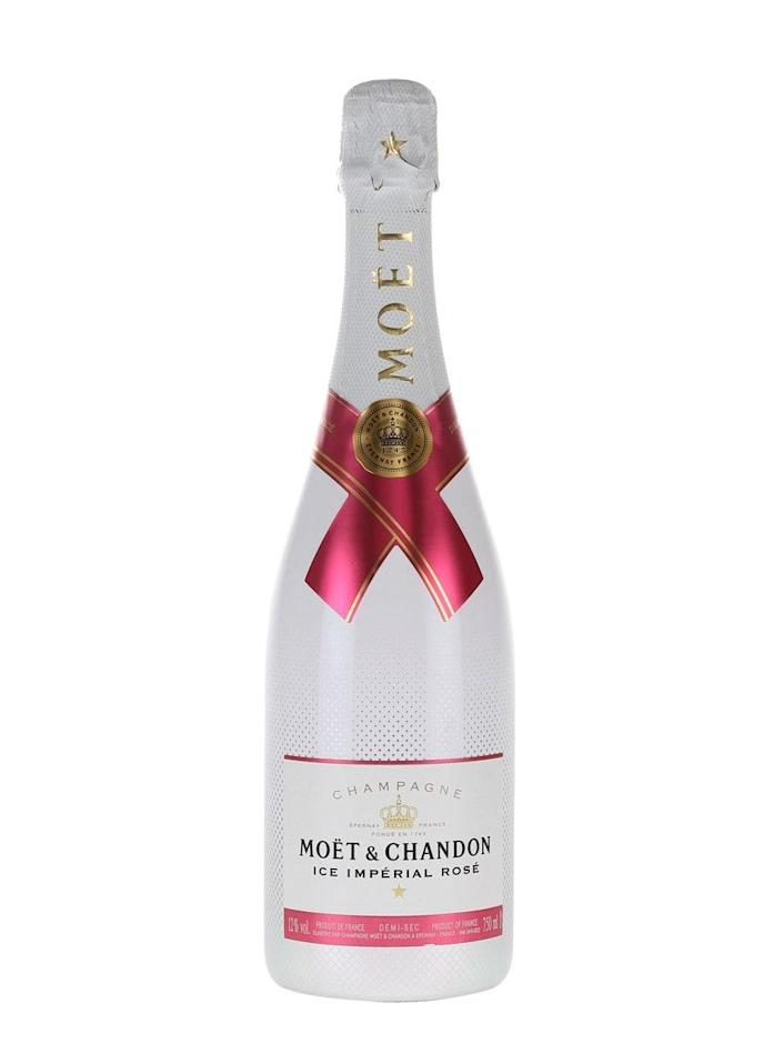 """Venerable Champagne purveyor Moët & Chandon developed <a href=""""https://cna.st/affiliate-link/2RK3okCuu14tqnrz1y9N1RveVyraPd7zMnNNQCpw7CHWQhSRE92Wfu1JDgc72Kooyc5dPTdoMM63W?cid=60abb8c46e58ca48662eba60"""" rel=""""nofollow noopener"""" target=""""_blank"""" data-ylk=""""slk:Ice"""" class=""""link rapid-noclick-resp"""">Ice</a> as a sparkling drink specifically designed to be enjoyed on the rocks. The pink version, decorated with a fuchsia seal, is an ideal frosty drink to combat sweltering summer temperatures. $86, Drizly. <a href=""""https://www.google.com/url?q=https://drizly.com/wine/rose-wine/moet-and-chandon-ice-imperial-rose-champagne/p60904"""" rel=""""nofollow noopener"""" target=""""_blank"""" data-ylk=""""slk:Get it now!"""" class=""""link rapid-noclick-resp"""">Get it now!</a>"""