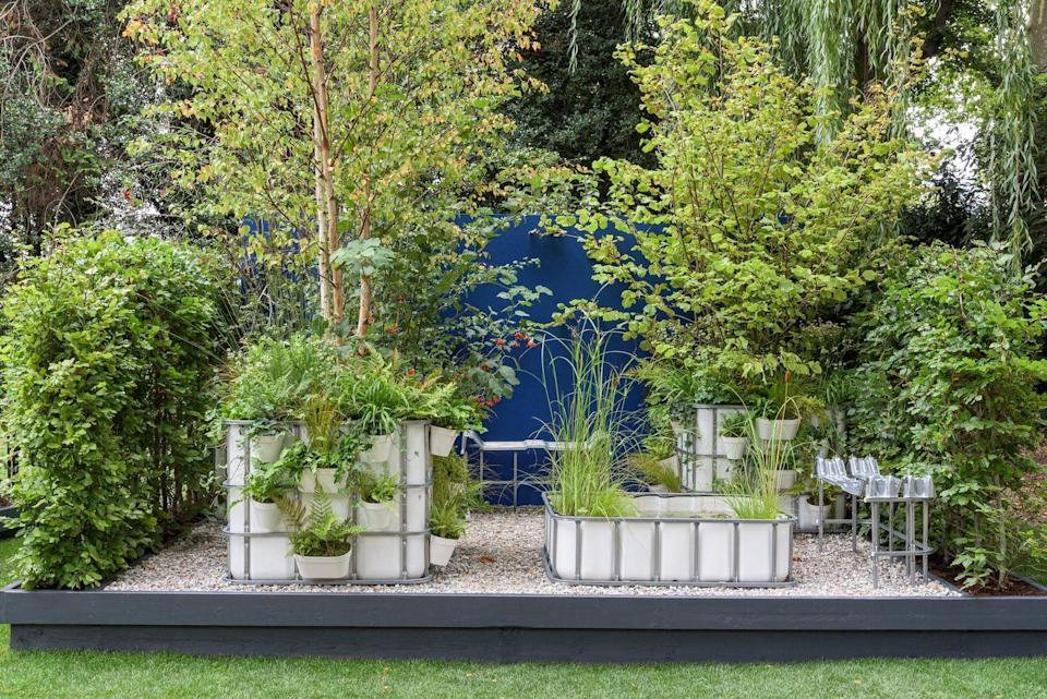 <p><strong>CONTAINER GARDEN</strong></p><p>Designed by Sara Edwards, , this garden's aim is to create an urban pocket forest and haven for wildlife. It's inspired by the balconies of Milan's Bosco Verticale and tiny urban forests utilising the Miyawaki method.</p>