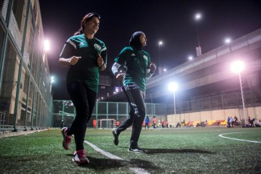 Egyptian referees Hanan Hassan (R) and Mona Atalla have officiated at lower-level football matches for years but now women referees have their sights set on the premier league