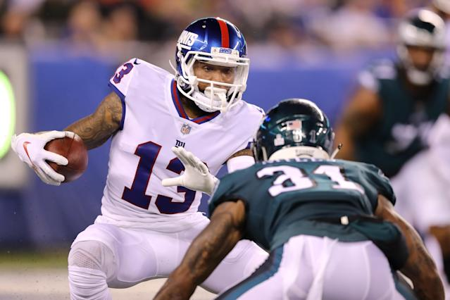 It was a rough night for Odell Beckham and the Giants against the Eagles. New York fell to 1-5 on the season. (Getty Images)