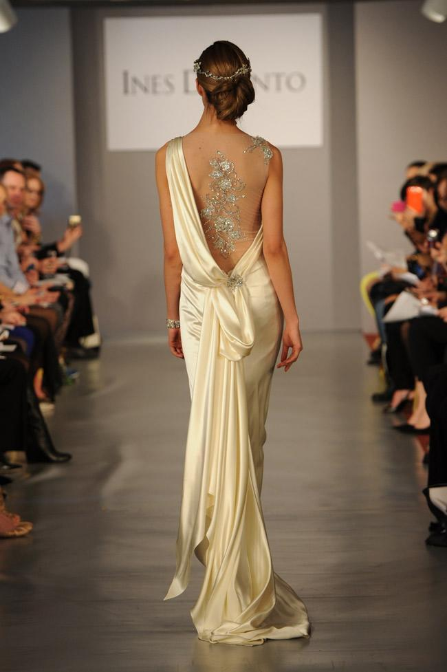 """<div class=""""caption-credit""""> Photo by: Kurt Wilberding / The Knot</div><b>The Back Story</b> <br> So you love the cut-out trend that's all the rage in ready-to-wear? Then this Grecian-inspired Ines Di Santo gown has a seriously deep dip and bedazzled see-through insert for a faux-nude look. <br> <br> <i>Like us on Facebook: Facebook.com/theknot <br> Follow us on Twitter: Twitter.com/theknot</i> <br> <br> © 2013 The Knot. All rights reserved. <br> <br> <br>"""