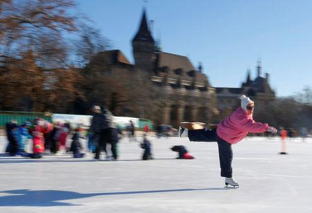 An elderly woman skates in sub-zero temperatures at the City Park Ice Rink in Budapest, Hungary, January 6, 2017. REUTERS/Laszlo Balogh