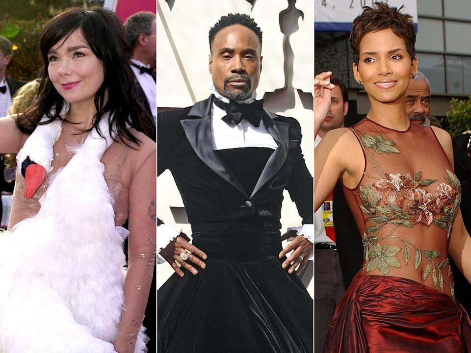 <p>Björk, Billy Porter and Halle Berry: some of the fashion pioneers the Oscars have inspired</p> (Getty)