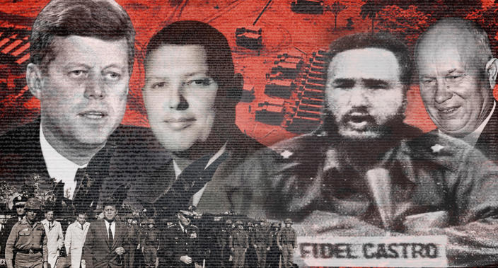 President John F. Kennedy, CIA agent Thomas Hewitt, President Fidel Castro of Cuba and Premier Nikita Khrushchev of the Soviet Union. Detailed caption and credits at the bottom of the page.* (Photo illustration: Yahoo News)