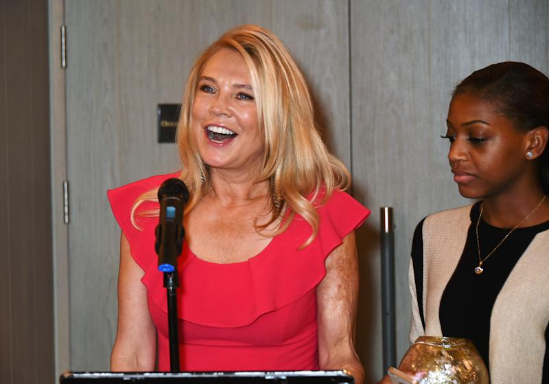 LONDON, ENGLAND - OCTOBER 04: Amanda Redman (L) and Madeline Bafaku attend the Voice Of A Woman Awards at the Belgraves Hotel on October 4, 2015 in London, England. (Photo by David M. Benett/Dave Benett/Getty Images)