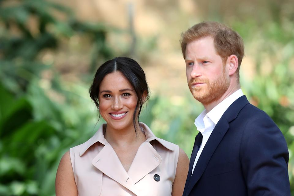 Prince Harry, Duke of Sussex and Meghan, Duchess of Sussex attend a Creative Industries and Business Reception on October 02, 2019 in Johannesburg, South Africa.