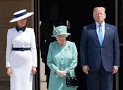 Queen Elizabeth ll, US First Lady Melania Trump and President Donald Trump attend a Ceremonial Welcome at Buckingham Palace on the first day of US President's State Visit to Great Britain on June 03, 2019.