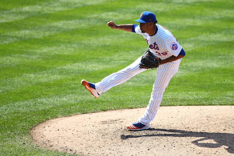 NEW YORK, NEW YORK - AUGUST 09: Edwin Diaz #39 of the New York Mets in action against the Miami Marlins at Citi Field on August 09, 2020 in New York City. New York Mets defeated the Miami Marlins 4-2. (Photo by Mike Stobe/Getty Images)