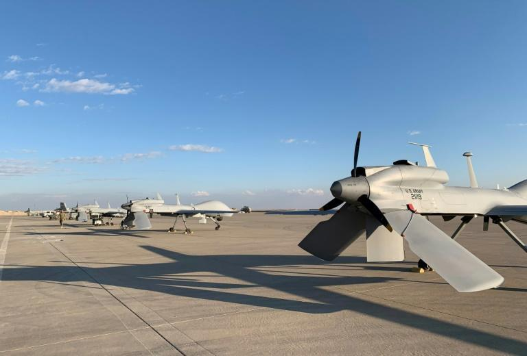 US army drones on the tarmac at the Ain al-Asad airbase in the western Iraqi province of Anbar (AFP Photo/Ayman Henna)
