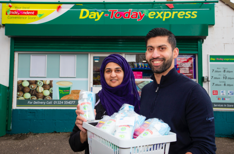 Asiyah and Jawad Javed are giving away hand sanitiser to people over the age of 65. (SWNS)