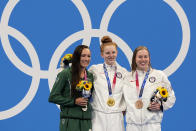 Gold medalist Lydia Jacoby, centre, of the United States, stands with silver medalist Tatjana Schoenmaker, left, of South Africa, and bronze medalist Lilly King, of the United States, after the final of the women's 100-meter breaststroke at the 2020 Summer Olympics, Tuesday, July 27, 2021, in Tokyo, Japan. (AP Photo/Martin Meissner)