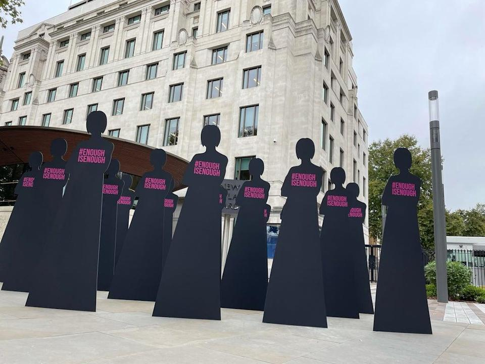 Silhouettes representing 16 women who have been killed by serving or former police officers since 2009 (Sophie Wingate/PA) (PA Wire)