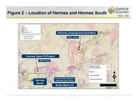 Figure 2 - Location of Hermes and Hermes South (CNW Group/Superior Gold)