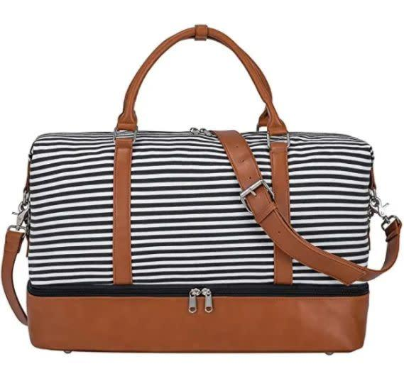 "Find this S-Zone Women Canvas Weekender Bag for $42 on <a href=""https://amzn.to/3jrXmkK"" rel=""nofollow noopener"" target=""_blank"" data-ylk=""slk:Amazon"" class=""link rapid-noclick-resp"">Amazon</a>."