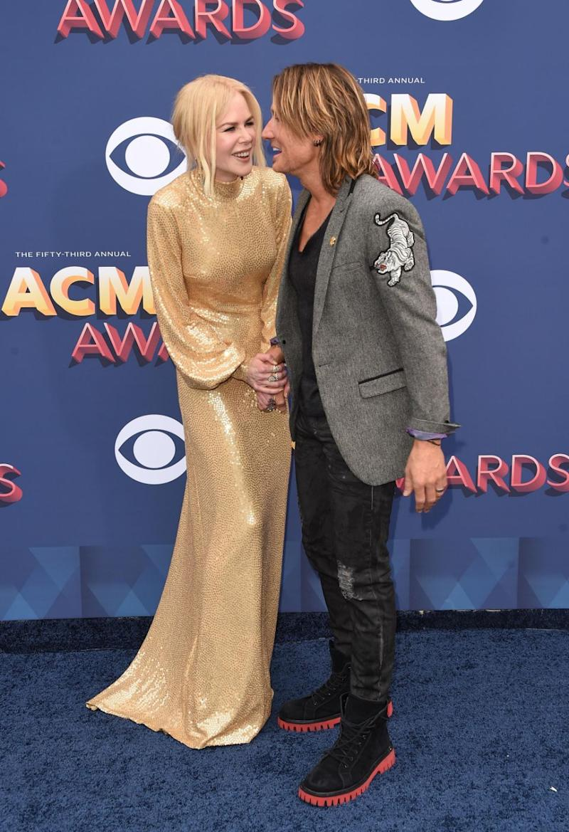 Nicole and Keith, both 50, couldn't keep their hands off each other for the photographers. Source: Getty
