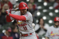 St. Louis Cardinals' Paul DeJong gets hit by a pitch during the seventh inning of the team's baseball game against the Milwaukee Brewers on Tuesday, May 11, 2021, in Milwaukee. (AP Photo/Aaron Gash)