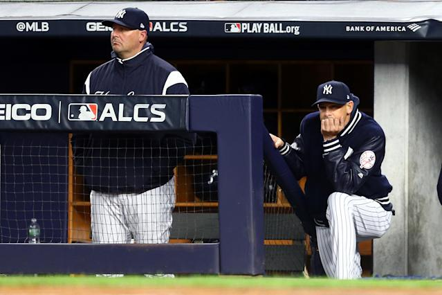 The same question keeps coming up to Yankees manager Aaron Boone: Why is Giancarlo Stanton on the roster if he's not going to at least pinch-hit? (Getty Images)