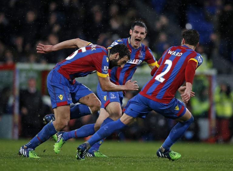 Crystal Palace's Mile Jedinak (L) celebrates with teammates after scoring their third goal from a freekick against Liverpool on November 23, 2014 at Selhurst Park (AFP Photo/Adrian Dennis)