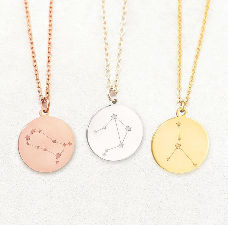 Zodiac Necklace Sign Disc