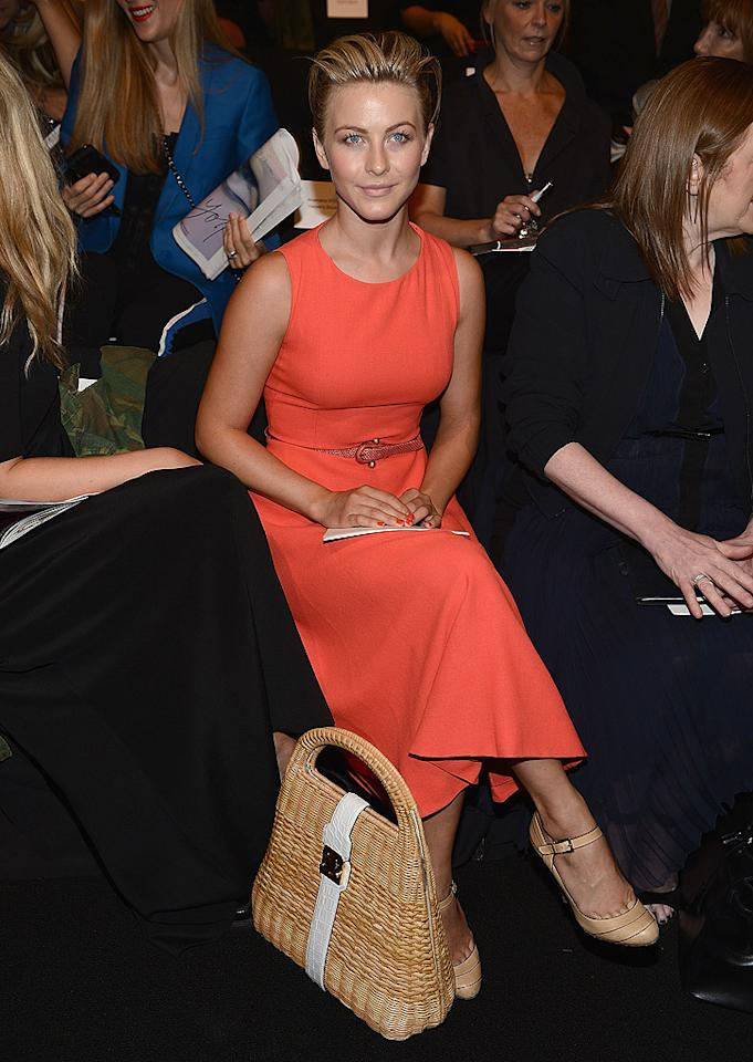 """Dancing With the Stars"" pro-turned-actress Julianne Hough sat front row at the Carolina Herrera show on Monday. Ryan Seacrest's girlfriend is quite a fan of the designer and has worn her fashions on many red carpets over the years. (9/10/2012)"