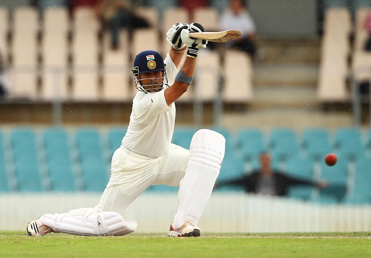 CANBERRA, AUSTRALIA - DECEMBER 16:  Sachin Tendulkar of India bats during day two of the International Tour match between India and the Cricket Australia Chairman's XI at Manuka Oval on December 16, 2011 in Canberra, Australia.  (Photo by Mark Nolan/Getty Images)