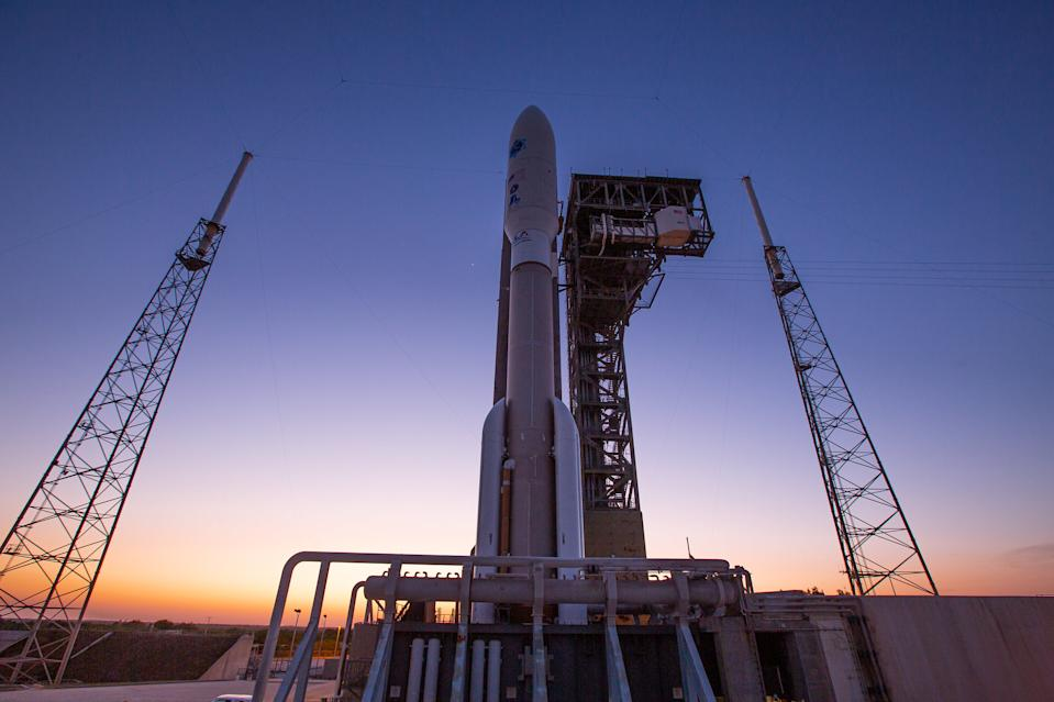 A United Launch Alliance Atlas V rocket stands ready for launch on Space Launch Complex-41 at Cape Canaveral Air Force Station in Florida. The rocket is scheduled to launch the U.S. Space Force's sixth and final Advanced Extremely High Frequency satellite, or AEHF-6, on March 26, 2020.