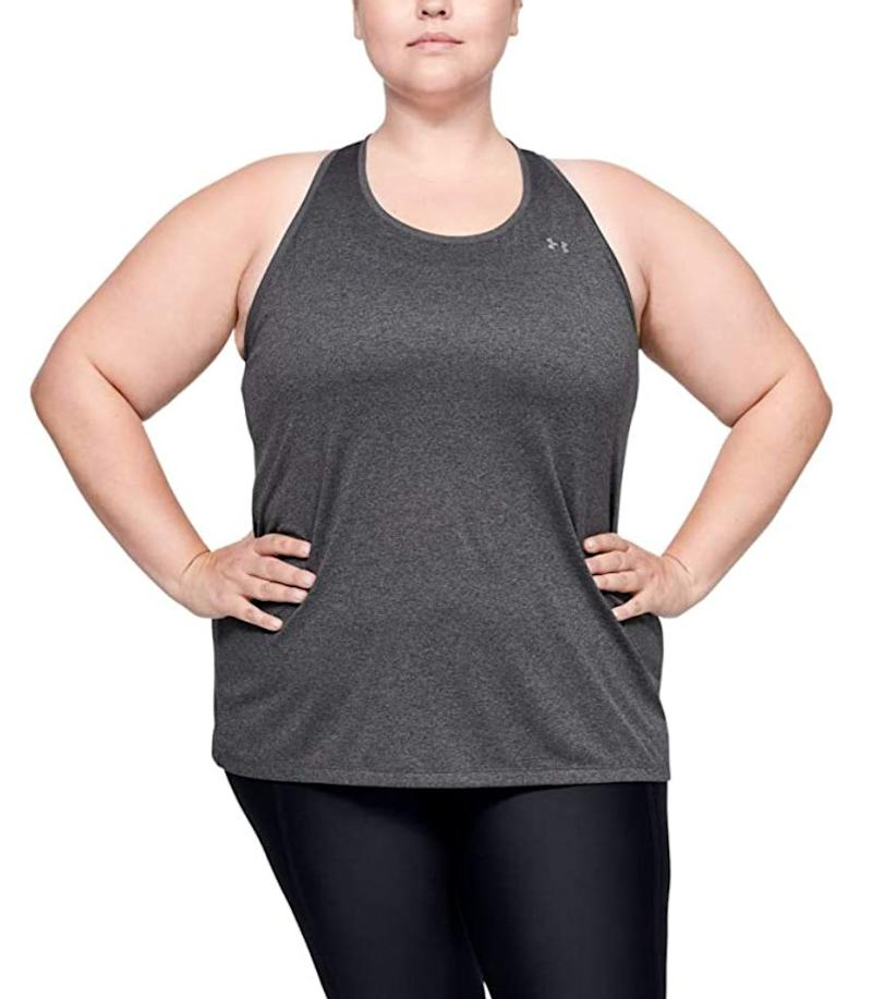 """This<a href=""""https://amzn.to/33T7ZYj"""" target=""""_blank"""" rel=""""noopener noreferrer"""">Under Armour tank top</a>is made of polyester and is soft, quick-drying and sweat-wicking. It comes in black, heather gray and white.<br /><br /><strong>Sizes:</strong> This tank comes in sizes 1X to 3X.<br /><strong>Rating:</strong> It has a 4.5-star rating over 30 reviews.<br /><strong>$$$:</strong> <a href=""""https://amzn.to/33T7ZYj"""" target=""""_blank"""" rel=""""noopener noreferrer"""">Find it starting at $19 on Amazon</a>."""