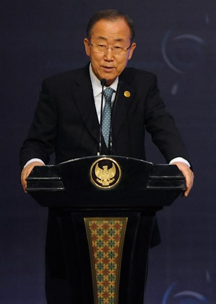 UN Secretary General Ban Ki-moon speaks at the opening of the United Nations Alliance of Civilizations conference in Nusa Dua, Bali on August 29, 2014 (AFP Photo/Sonny Tumbelaka)