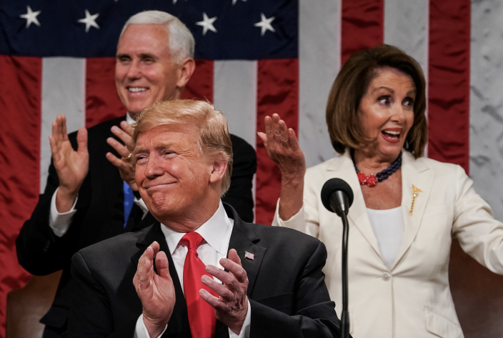 U.S. President Donald Trump, Speaker Nancy Pelosi and Vice President Mike Pence applaud during the State of the Union address in the chamber of the U.S. House of Representatives at the U.S. Capitol Building on February 5, 2019 in Washington, DC. (Photo: Doug Mills-Pool/Getty Images)