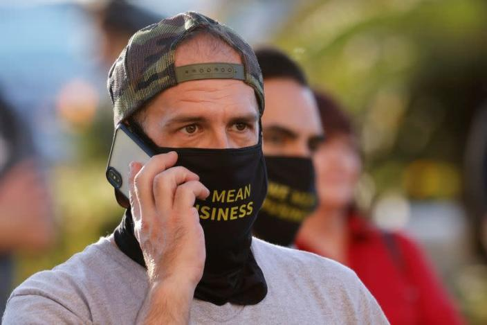 FILE PHOTO: Business owners rally against restrictions during the outbreak of the coronavirus disease (COVID-19) in San Diego