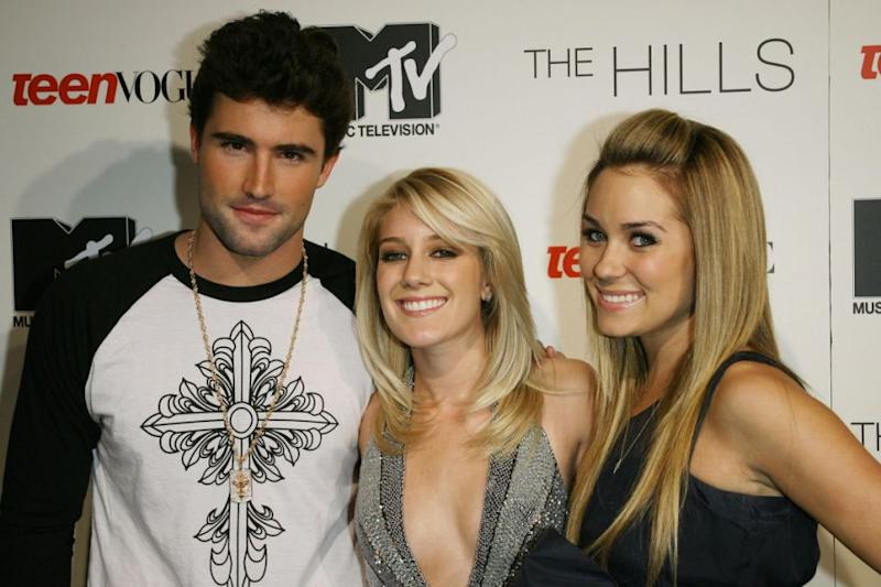 Brody is also famous for his role on The Hills. Here he is pictured with Lauren Conrad and Heidi Montag. Photo: Getty Images