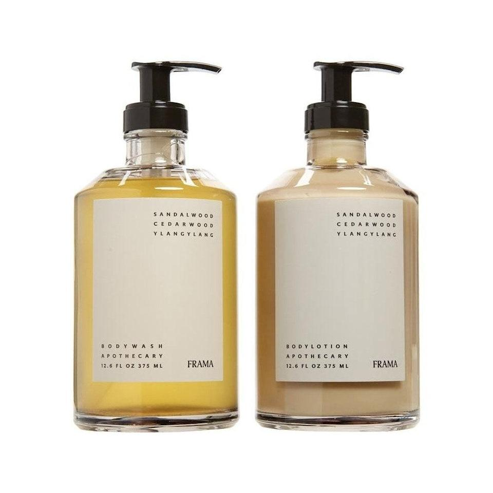 """One glance at these bottles and you can pick up on many of the interior design cues in Goodee's DNA. Twin brothers Byron and Dexter Peart, who both have a background in design, created a virtual marketplace to highlight the work of global artisans. This Frama Apothecary Body Wash and Lotion Set has notes of ylang-ylang, sandalwood, and cedarwood for an outdoor fresh feel and smell. $100, Nordstrom. <a href=""""https://www.nordstrom.com/brands/goodee--22274?"""" rel=""""nofollow noopener"""" target=""""_blank"""" data-ylk=""""slk:Get it now!"""" class=""""link rapid-noclick-resp"""">Get it now!</a>"""
