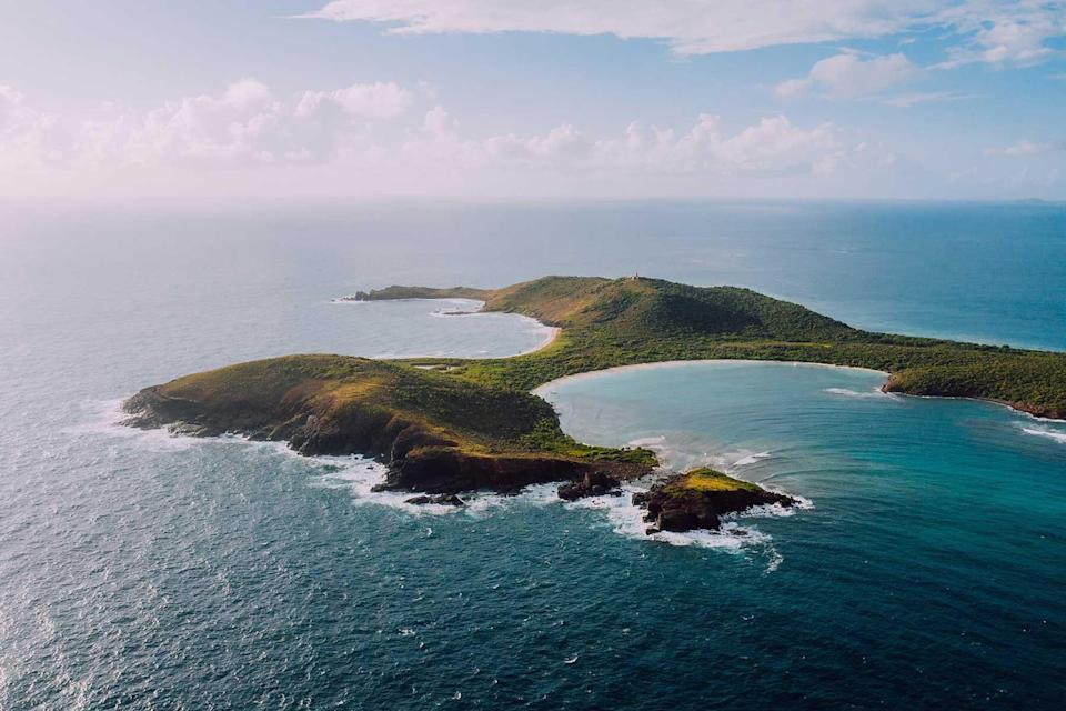 Aerial view of the island of Culebra, in Puerto Rico