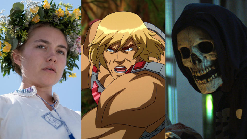 'Midsommar', 'Masters of the Universe: Revelation' and 'Fear Street' are all on Netflix in July 2021. (EFD/Netflix)