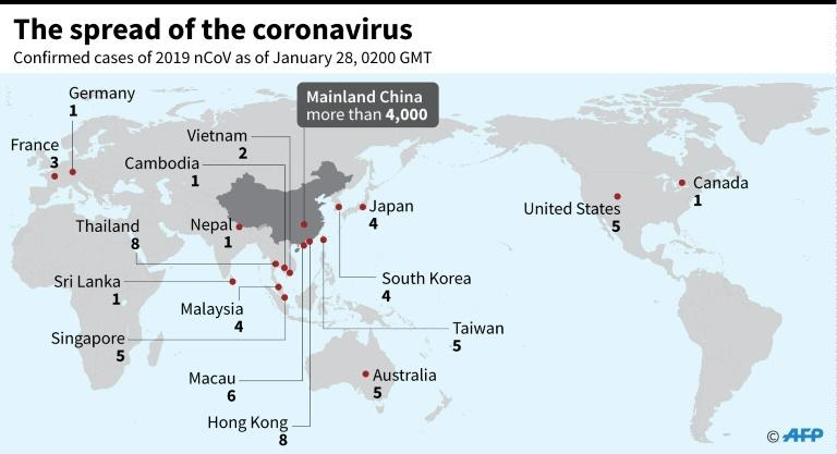 Map showing countries and territories where cases of the China virus have been confirmed, as of January 28, 0200 GMT