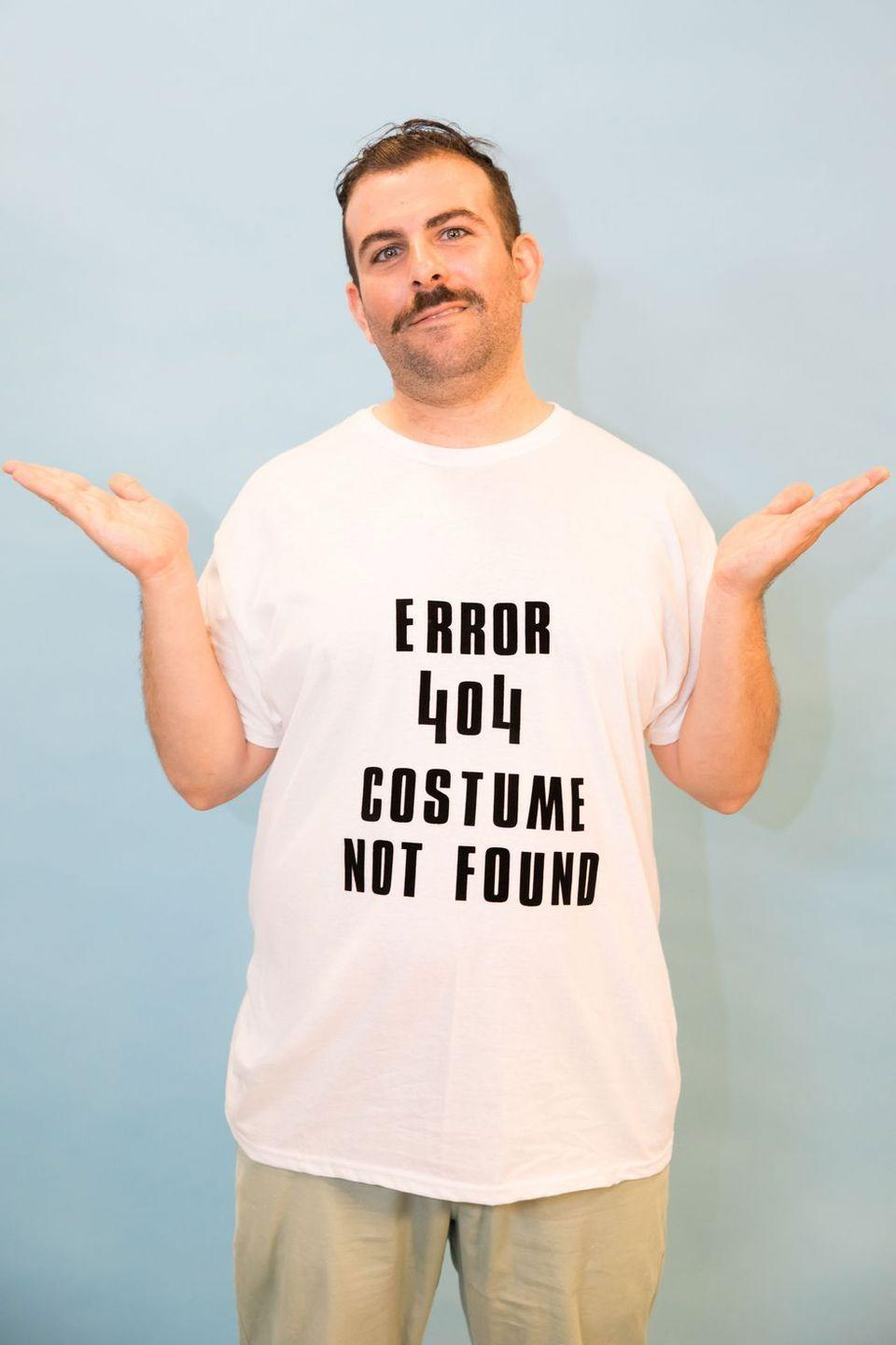 """<p>Throw together this costume seconds before you head out the door by adding iron-on letters or black stickers to a white t-shirt. </p><p><a class=""""link rapid-noclick-resp"""" href=""""https://www.amazon.com/Letters-Transfer-T-Shirt-Football-Baseball/dp/B07H97SGLF/?tag=syn-yahoo-20&ascsubtag=%5Bartid%7C10055.g.28089320%5Bsrc%7Cyahoo-us"""" rel=""""nofollow noopener"""" target=""""_blank"""" data-ylk=""""slk:SHOP IRON-ON LETTERS"""">SHOP IRON-ON LETTERS</a> </p>"""
