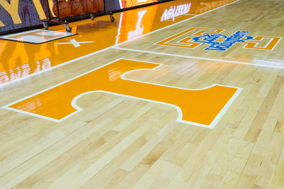 The Tennessee Power T and Lady Vols logo is shown on the court before a game between Kentucky and Tennessee (Bryan Lynn/Icon Sportswire via Getty Images)