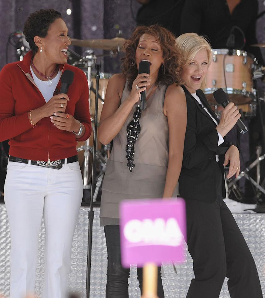 """GMA"" co-host Diane Sawyer was the last to do a TV interview with Houston, who famously discussed crack cocaine in the 2002 chat. The singer's interview with Oprah Winfrey will air September 14. Dimitrios Kambouris/<a href=""http://www.wireimage.com"" target=""new"">WireImage.com</a> - September 1, 2009"