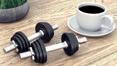 """<span class=""""caption"""">Participants consumed the equivalent of a tall brewed filter coffee 30 minutes before exercise.</span> <span class=""""attribution""""><a class=""""link rapid-noclick-resp"""" href=""""https://www.shutterstock.com/image-illustration/two-dumbbells-cup-coffee-3d-rendering-1135349036"""" rel=""""nofollow noopener"""" target=""""_blank"""" data-ylk=""""slk:Pavel3d/ Shutterstock"""">Pavel3d/ Shutterstock</a></span>"""
