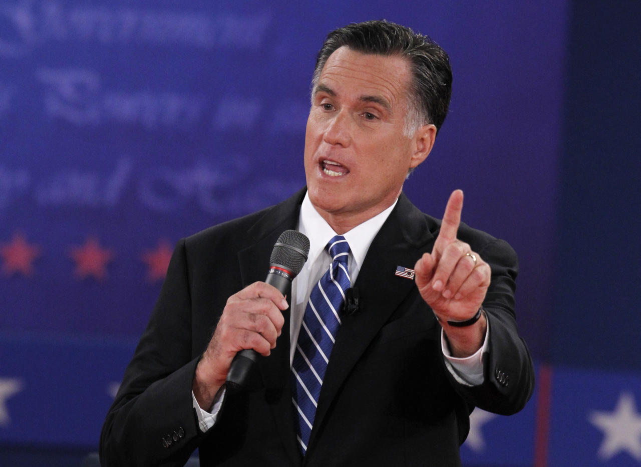 U.S. Republican presidential nominee Mitt Romney answers a question as he debates President Barack Obama during the second U.S. presidential campaign debate in Hempstead, New York, October 16, 2012.        REUTERS/Lucas Jackson (UNITED STATES  - Tags: POLITICS ELECTIONS USA PRESIDENTIAL ELECTION)