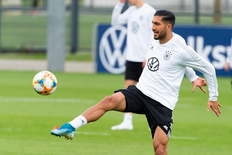 BOCHUM, GERMANY - SEPTEMBER 28: Emre Can of Germany controls the ball during a training session at BVB-Trainingsgelaende on October 7, 2019 in Dortmund, Germany. Germany will play against Argentina in an international friendly match on October 9, 2019 in Dortmund. (Photo by TF-Images/Getty Images)
