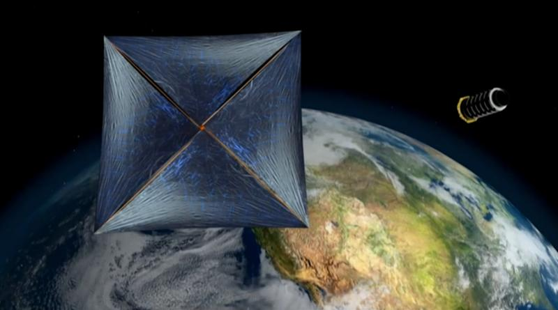"Artist's illustration of a sail-equipped, laser-propelled ""wafersat"" designed to explore the solar system and beyond."