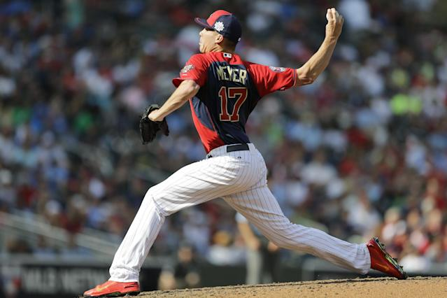 United State's Alex Meyer throws a pitch during the fifth inning of the All-Star Futures baseball game against the World Team, Sunday, July 13, 2014, in Minneapolis. (AP Photo/Jeff Roberson)